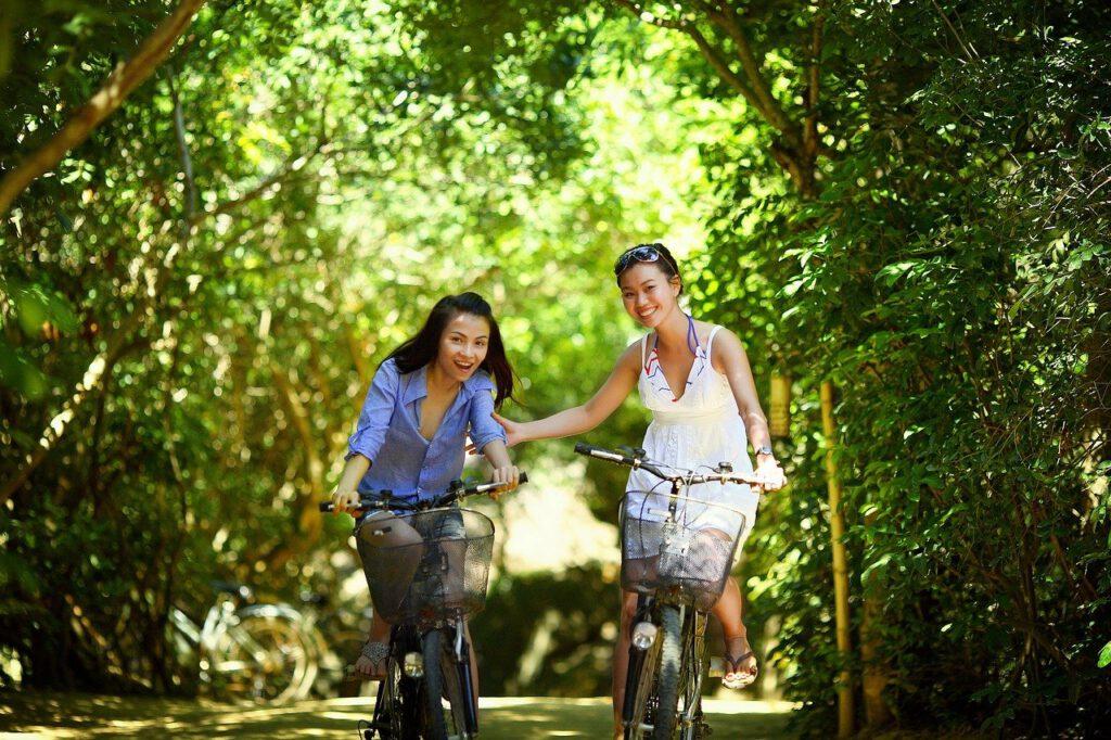 girl, biking, bike